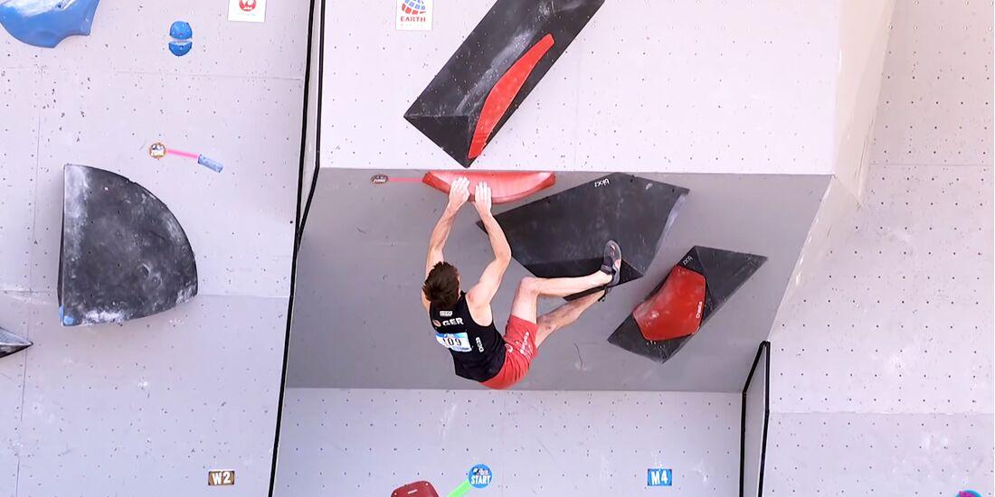 Jan Hojer beim Boulder-Weltcup in Vail 2019